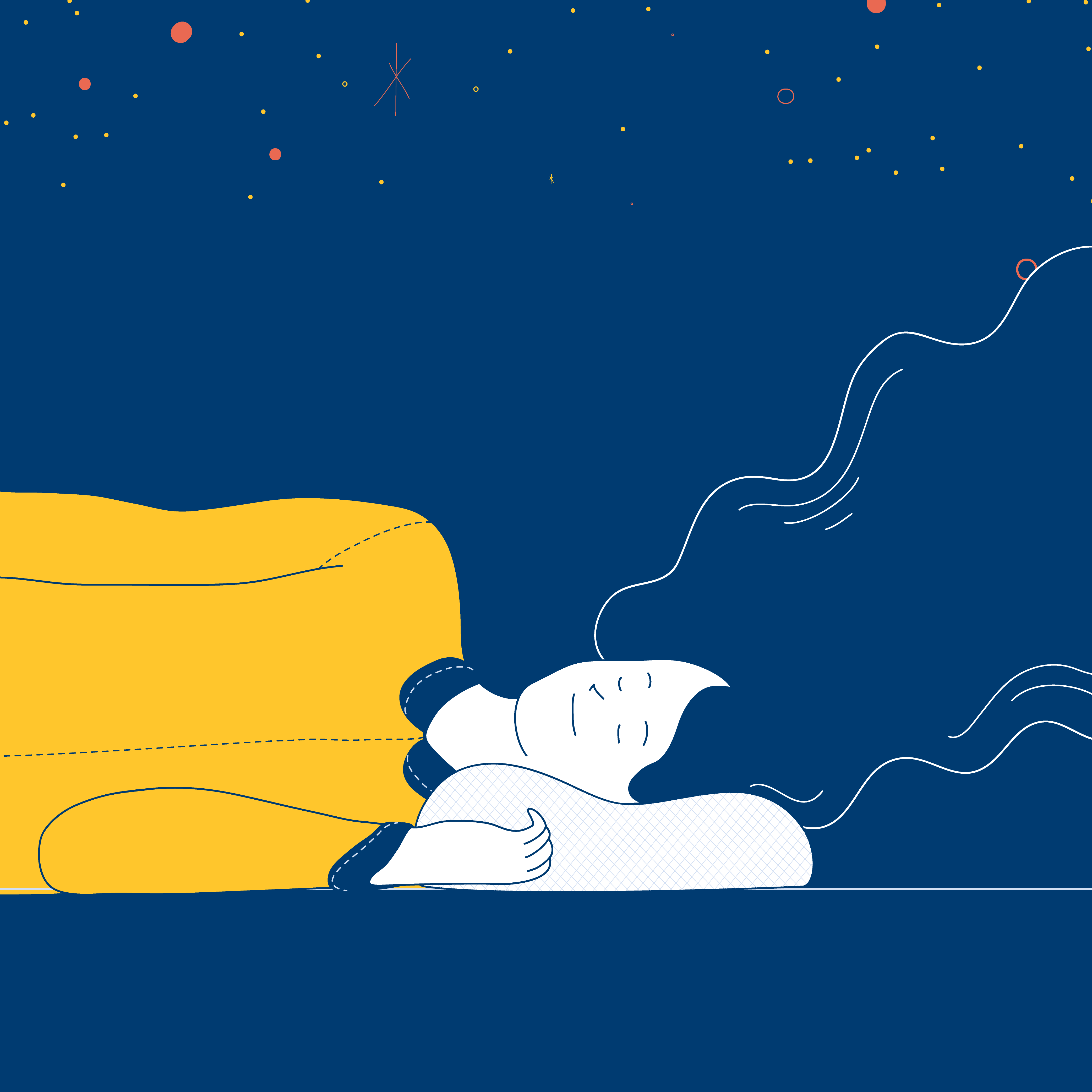 Illustration of a person sleeping, with the stars above them