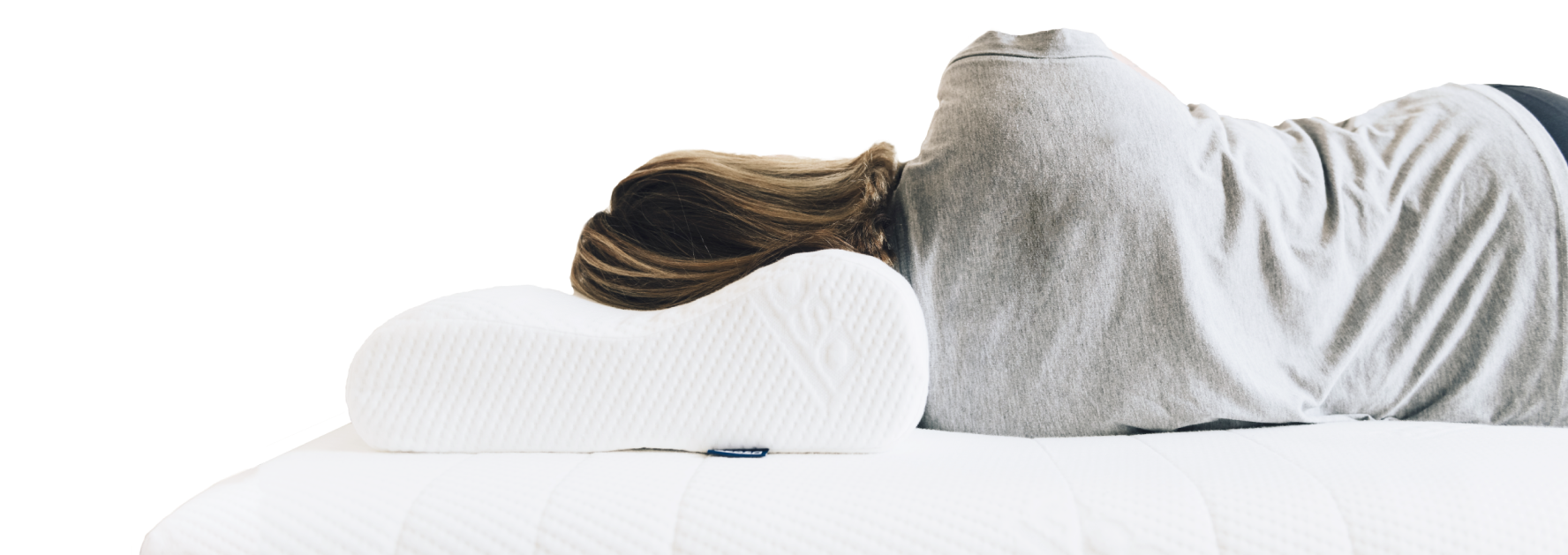 A woman sleeping on Ecosa pillow with perfectly aligned neck